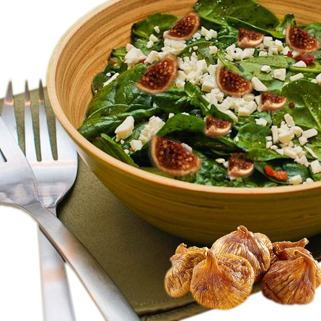 Calymirna figs pair nicely with spinach salad and goat cheese