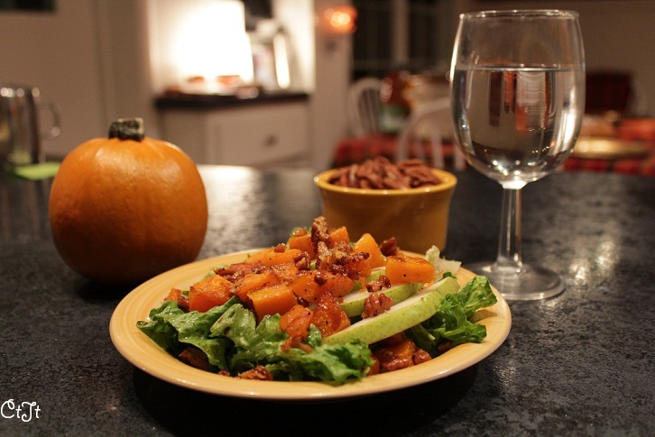 Roasted Butternut Squash Pear Salad Persimmon Honey Vinaigrette for Thanksgiving, a nice fall salad