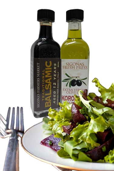 Tossed greens with evoo and balsamic