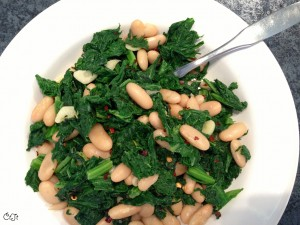 Sauteed Wild Mustard Greens with beans