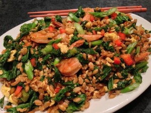 Szechuan-Style Wild Mustard Greens and Farro with Shrimp