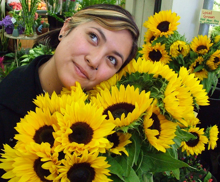Quincey with Sunflowers