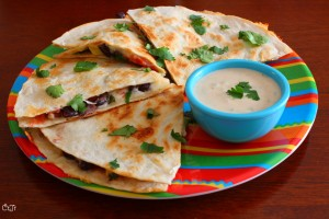 Spicy Black Bean and Zucchini Quesadilla with a Yogurt Lime Dipping Sauce_IMG_7355
