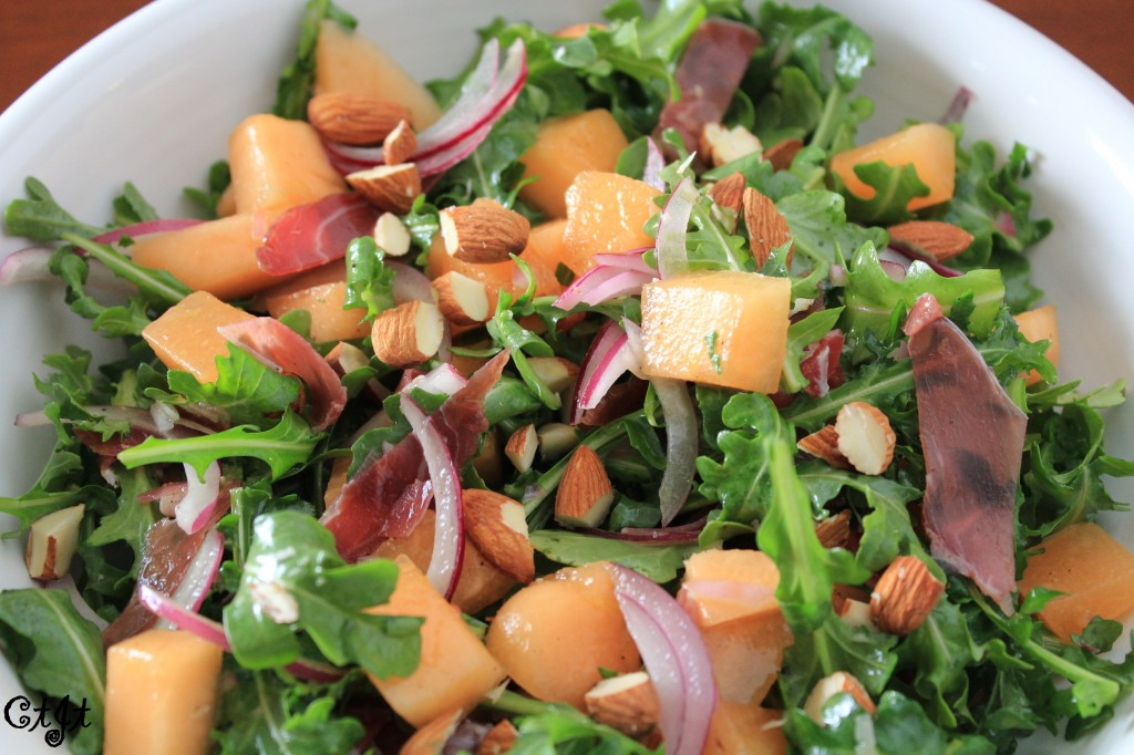 Melon, Prosciutto and Arugula Salad featuring Sigona's Summertime Peach White Balsamic and Sigona's Meyer Lemon Fusion Olive Oil