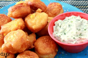 Fresh Corn Fritters with a Creamy Chive & Lime Dipping