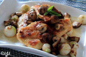 Crimini Mushrooms & Pearl Onions over Chicken Cutlets with a Fresh Herb & Wine Sauce  IMG_2045_e_sm