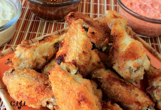 Broiled Chicken Wings for dipping in Sigona's Golden Pineapple Sweet & Sour Sauce