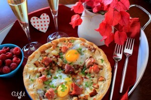 Prosciutto and Potato Hash Pizza with Pastured Eggs