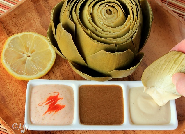 Creamy Garlic-Balsamic Dipping Sauce for Artichokes featuring Sigona's Garlic Oil and 12-year-aged traditional balsamic vinegar.