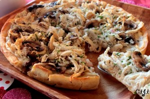 White Chicken Pizza with Fresh Herbs on a Corn Meal Crust
