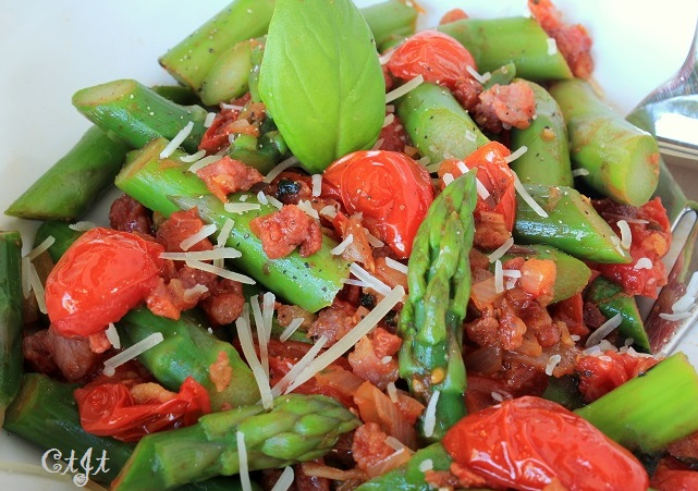 Warm Asparagus Salad with Burst Grape Tomatoes and Pancetta