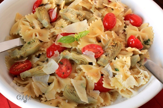 Fresh Spring Pasta with Baby Artichokes featuring Sigona's Meyer Lemon Fusion Olive Oil or Sigona's Basil Olive Oil