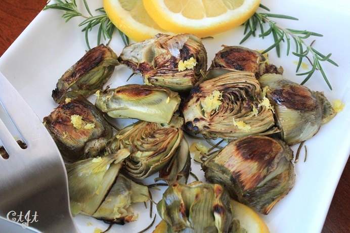 Pan-Roasted Baby Artichokes with Garlic & Sigona's Meyer-Lemon Olive Oil featuring Sigona's Meyer Lemon Fusion Olive Oil
