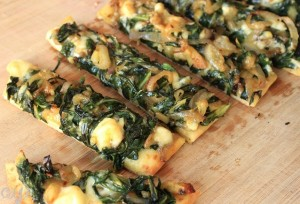 Swiss Chard & Caramelized Shallot Flatbread with Brie
