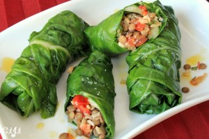 Swiss Chard Rolls Stuffed with Brown Rice, Herbs & Bell Peppers