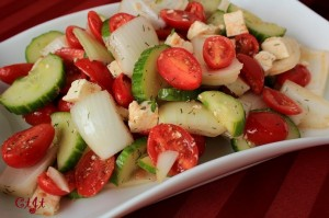Sweet Onion Salad with Tomatoes, Cucumber and Feta