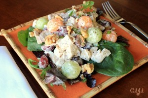 Chicken & Sweet Melon Salad with Grapes and Walnuts on a Bed of Mixed Greens IMG_6695_E_sm