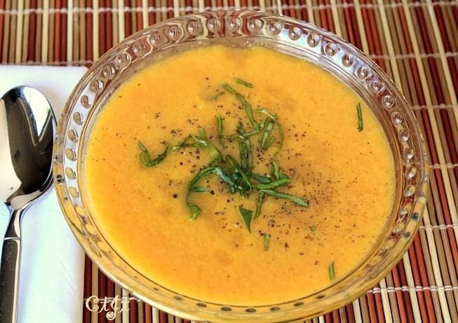 Local Heirloom Cantaloupe Gazpacho using orange-flesh melons or cantaloupe
