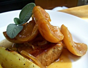 Pork chops with sage and apples