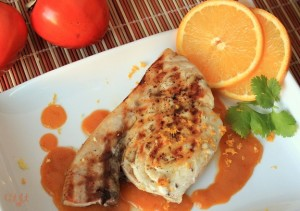 Grilled Swordfish with a Hachiya Persimmon Ginger Sauce_sm