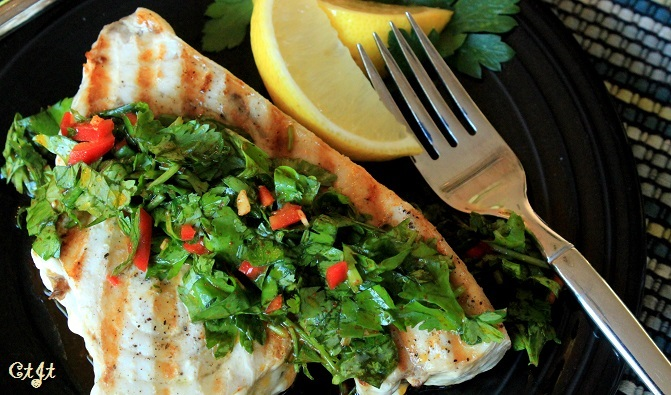 Grilled Swordfish with cilantro pepper and lemon vinaigrette