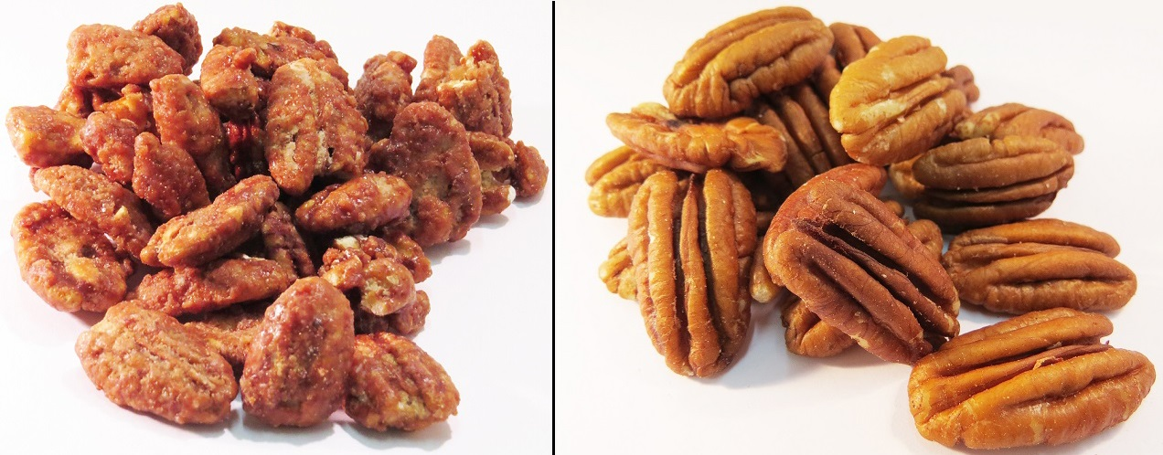 Glazed pecans and Raw pecans