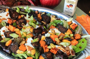 Roasted Butternut Squash Salad with Summer Fig Chèvre and Pistachios Over Mixed Greens 0316 E (1 of 1)_360