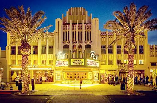 Enjoy watching a Film in a Historical Movie Palace: The Fox theater in downtown Redwood City.