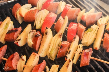 Gala Apple, Sausage and Fennel Skewers featuring Sigona's Herbes de Provence Olive Oil