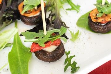 Mozzarella Stuffed Roasted Mushrooms with Baby Heirloom Tomatoes and Arugula_360