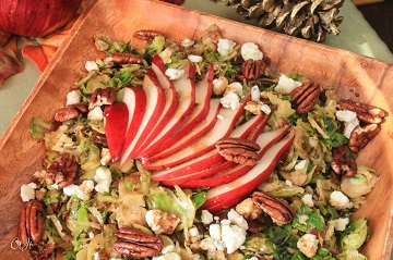 Shredded Brussels Sprouts Salad with Pears and Bacon Topped with a Maple Balsamic Vinaigrette