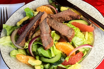 Steak and Citrus Salad with Creamy Avocado and a Simple Honey Ginger Vinaigrette_360