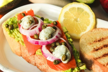 Lox & Caper Topped Avocado Toast with Lemon-Dill Crème Fraîche_360