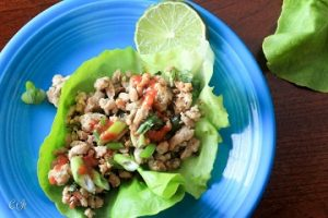 Grass-Fed Beef Lettuce Cups with Ginger, Garlic, Basil and Green Onion featuring Sigona's Persian Lime Olive Oil