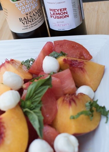 Heirloom Tomato Salad with Sigona's Satsuma Vanilla Cream White Balsamic and Sigona's Meyer Lemon Fusion Olive Oil