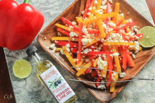 Marinated Bell Pepper Salad with Sigona's Persian Lime Olive Oil and Queso Fresco