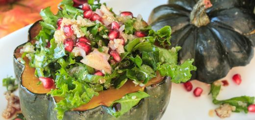 Pumpkin-Pie-Spiced Acorn Squash Stuffed with Quinoa, Kale and Pomegranate