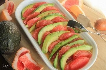 Grapefruit and Avocado Salad with a  Vinaigrette featuring Sigona's Meyer Lemon Fusion Olive Oil