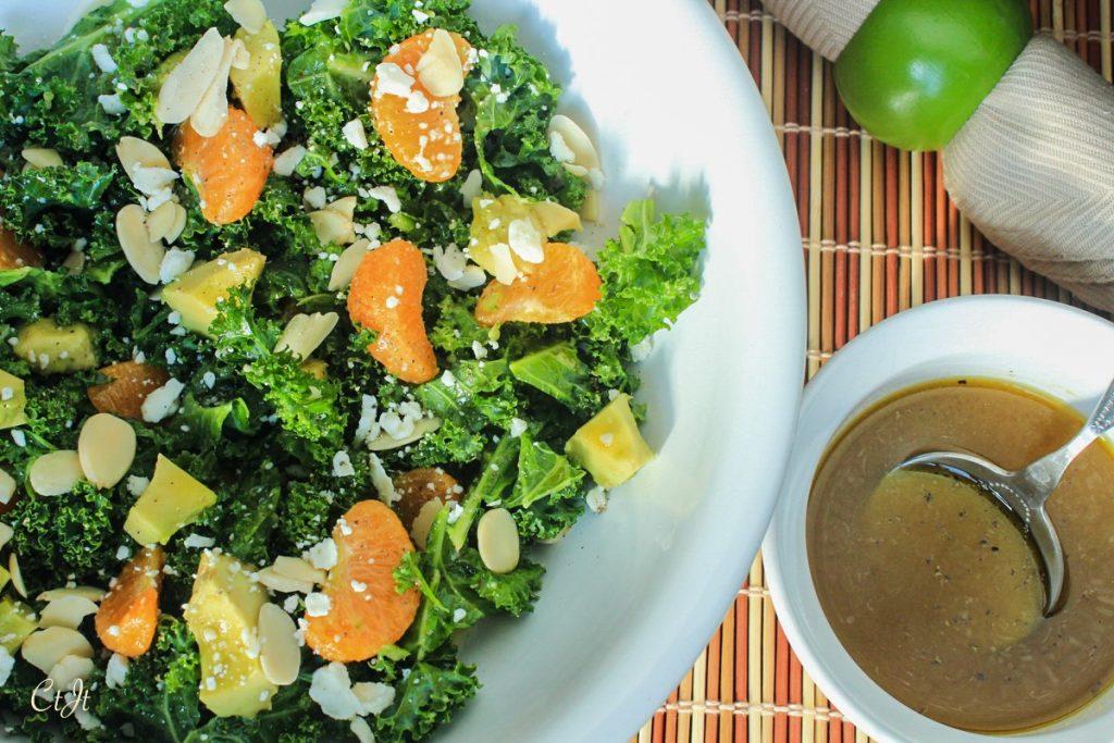 Organic Kale and Mandarin Salad with a Honey-Ginger Vinaigrette