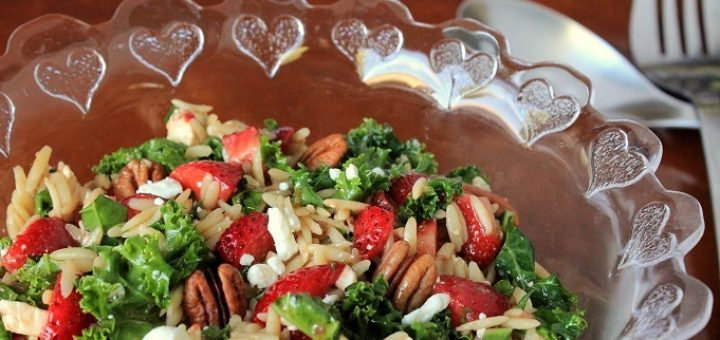 Fresh Strawberry Kale and Orzo Salad with a Balsamic Vinaigrette