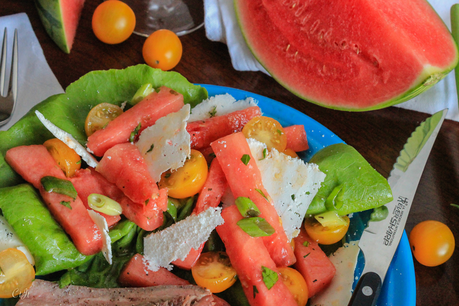 Watermelon & Tomato Salad with a White Balsamic Vinaigrette on a Bed of Butter Lettuce featuring Sigona's Herbes de Provence Olive Oil and Sigona's Premium White Balsamic Vinegar