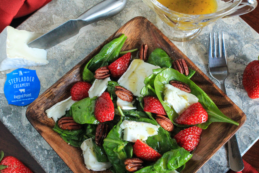 Simple Spinach & Strawberry Salad with Ragged Point Cheese and a White Balsamic Vinaigrette