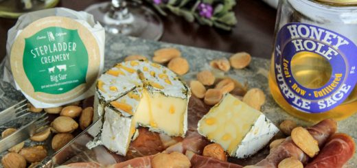 Big Sur On a Cheese Board with Marcona Almonds & Prosciutto, Drizzled with Honey
