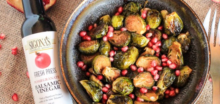 Pomegranate Balsamic Roasted Brussels Sprouts