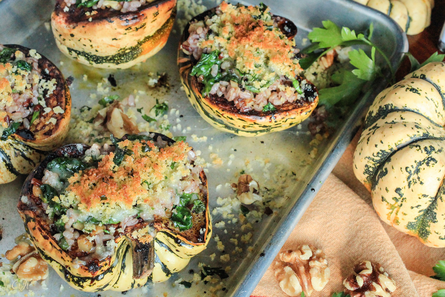 Sweet Dumpling Squash Stuffed with Wild Rice and Walnuts, Topped with Dill Havarti