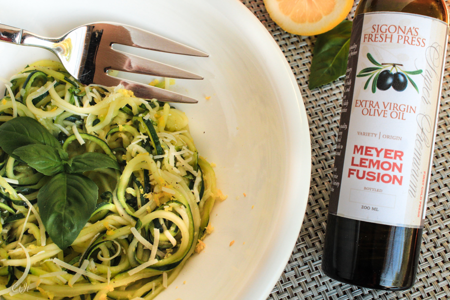 Meyer Lemon Zoodles with Parmesan and Basil featuring Sigona's Meyer Lemon Fusion Olive Oil