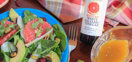 Grapefruit & Greens Salad with Avocado, Pistachios and a Grapefruit Vinaigrette