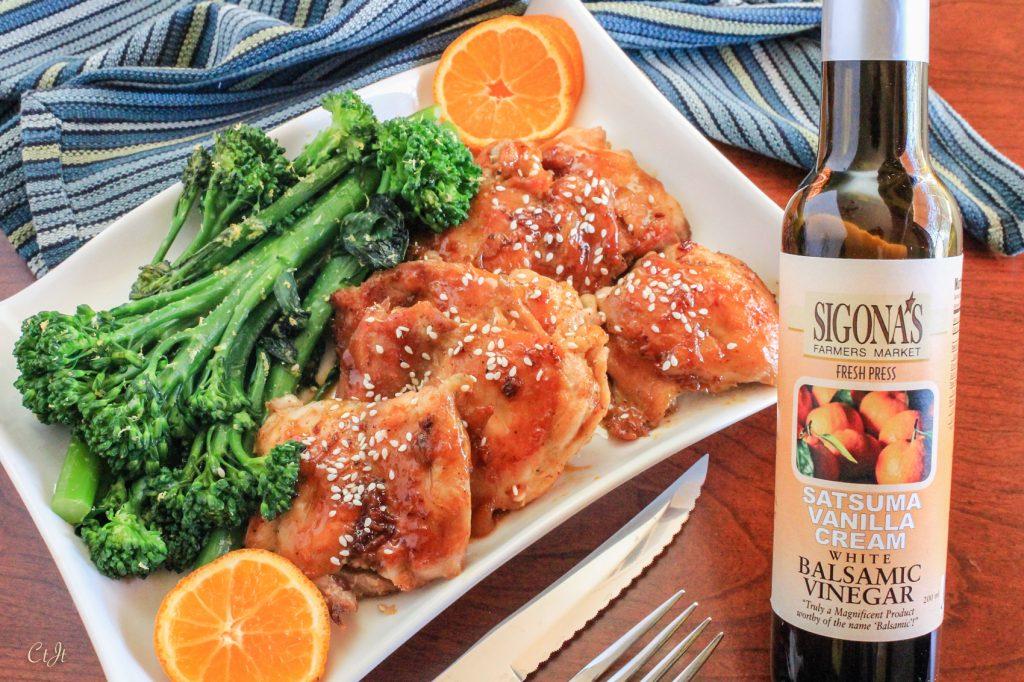 One Skillet Chicken with a Satsuma-Vanilla & Marmalade Glaze featuring Sigona's Satsuma Vanilla Cream White Balsamic Vinegar