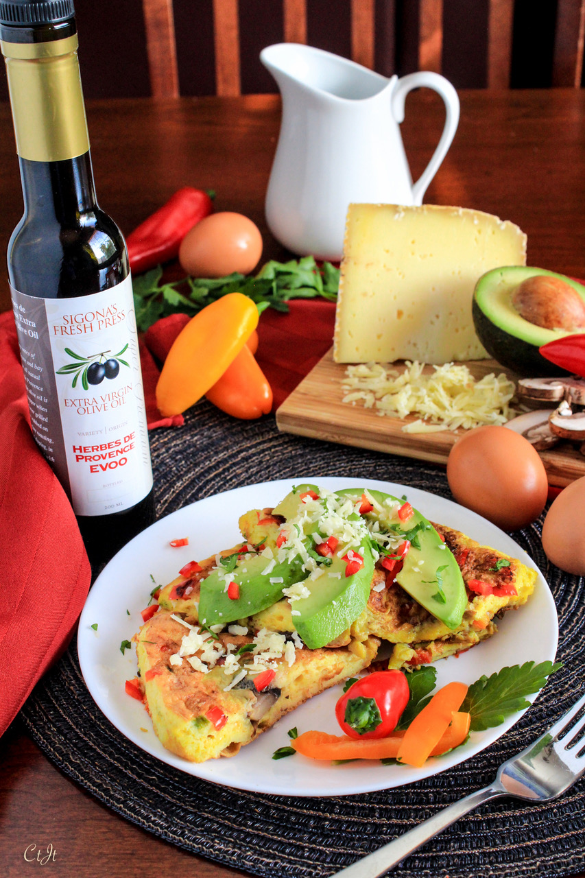 Simple Savory Omelette with Herbes de Provence and Fresh Veggies featuring Sigona's Herbes de Provence Olive Oil