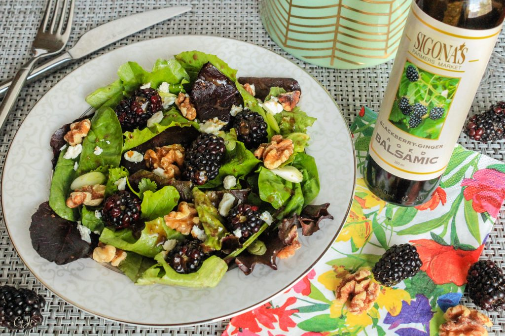 Mixed Greens with a Blackberry-Ginger Balsamic & Roasted French featuring Sigona's Roasted French Walnut Oil in a vinaigrette with Sigona's Blackberry-Ginger Balsamic Vinegar